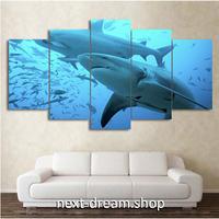 【お洒落な壁掛けアートパネル】 枠付き5点セット ブルーオーシャン 動物 大きなサメ ファブリックパネル インテリア m04600