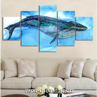 【お洒落な壁掛けアートパネル】 枠付き5点セット くじら 鯨 水色 芸術 絵画 ファブリックパネル インテリア m04535