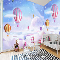 3D 壁紙 1ピース 1㎡ 子供部屋 雲 キラキラ雪 熱気球 インテリア 装飾 寝室 リビング 耐水 防湿 h02507