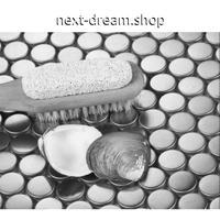 3D壁紙 30.2×30.2cm 11枚セット 丸モザイクタイル 銀 シルバー DIY リフォーム インテリア 部屋/キッチン/トイレにも h04398