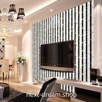 壁紙 45×1000cm ストライプ 白黒 ドット DIY リフォーム インテリア 部屋 リビング 寝室 防水 防音 h03790