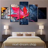 【お洒落な壁掛けアートパネル】 小さめサイズ5点セット カエデの葉 落ち葉 紅葉 ファブリックパネル DIY インテリア m04933
