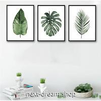 お洒落な壁掛けアートパネル 枠付き3点セット / 各15×20cm 植物 葉 モンステラ ポスター 絵画 ファブリックパネル m03442