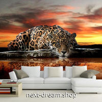 3D 壁紙 1ピース 1㎡ 動物景色 ヒョウ 夕暮れのサバンナ インテリア 装飾 寝室 リビング 耐水 防湿 h02472