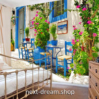 3D 壁紙 1ピース 1㎡ ヨーロッパの家 地中海 青い窓枠 インテリア 部屋装飾 耐水 防湿 防音 h02965