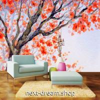 3D 壁紙 1ピース 1㎡ 水彩画風 梅の木 オレンジ インテリア 部屋装飾 耐水 防湿 防音 h02980