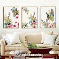 お洒落な壁掛けアートパネル 枠付き3点セット / 各15×20cm 鳥 花 南国 ポスター 絵画 ファブリックパネル m03426
