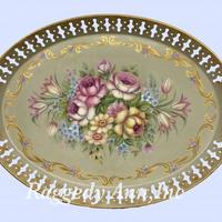 ブリキトレーに描いた花束