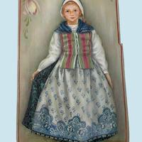 オランダの少女を描いた長楕円ボックス