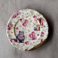 猫と薔薇のケーキ皿