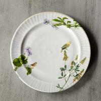 野花と鳥が遊ぶケーキ皿