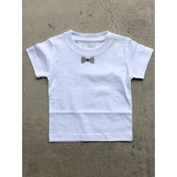 RIBON BLUECHECK TシャツWHITE