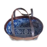 中国藍酒袋鞄 SHIB  S-41  中国藍印花布 金魚・蝶/  CHINESE INDIGO CALICO