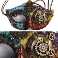 スチームパンク★歯車で装飾されたスカルの仮面★仮面舞踏会マスク