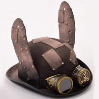 GRACEART★スチームパンク★バニーの耳、ゴーグル付き帽子★ゴシックシルクハット