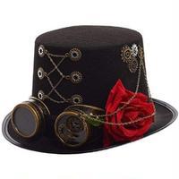スチームパンク★薔薇とゴーグル付きの帽子★ゴシックシルクハット