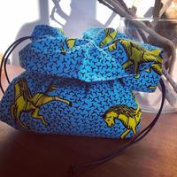 フラワー巾着 アフリカンファブリック ホース ブルー