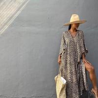 レオパード カフタン ドレス/Brown