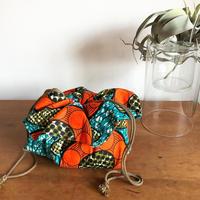 フラワー巾着アフリカンファブリック オレンジ