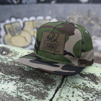 gold school logo woodland camo cap