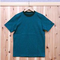 HOFI-001 コットンリネンインレー丸首Tシャツ (メンズ)  ブルー