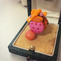 一点もの オレンジ×ピンクのテントウムシリング