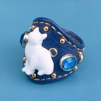 ★新作★Leather Ring (ブルーシルエットキャット)