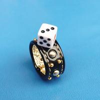 ★新作★ Leather  Ring (ブラックダイス)