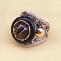 ★新作★ Leather Ring (パイソンアイ)