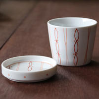 らせんドット そばちょこカップ&薬味皿セット
