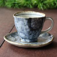 福来る和のうつわ 藍市松コーヒーカップ&ソーサー