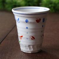 蝶々とお花 持ちやすいトールカップ