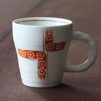 朱ライン小花 和カフェマグカップ