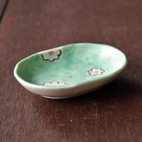 グリーン白花 小判皿