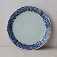 手描きの藍十草 中皿