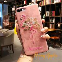 フラミンゴ 刺繍風 iPhoneケース Pink