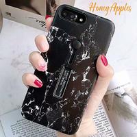 大理石柄 リング・スタンド付き ブラック ( Black )  iPhoneケース ※新機種対応