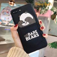 BARE BEARS ポケット付き 黒 パンダ iPhoneケース ベアベアーズ Black [ 新機種対応!]