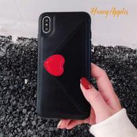 収納付きiPhoneケース ハート 手紙風デザイン Black