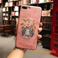 タイガーヘッド 刺繍風 iPhoneケース Pink