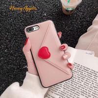 収納付きiPhoneケース ハート 手紙風デザイン Pink