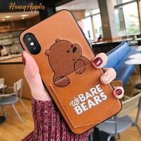 BARE BEARS ポケット付き 茶色 グリズ iPhoneケース ベアベアーズ Brown [ 新機種対応!]