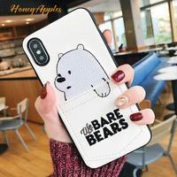 BARE BEARS ポケット付き 白 アイスベア iPhoneケース ベアベアーズ White [ 新機種対応!]