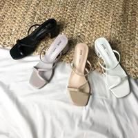 韓国ファッション★スクエアトングヒールビーチサンダル 4色