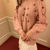 pompom rose knit sweater