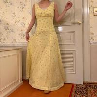 retro flower yellow dress