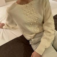 ivory pompom flower knit