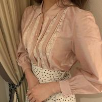 lace line pink blouse
