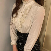 white lace frill blouse
