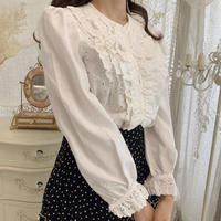 cotton frill white blouse